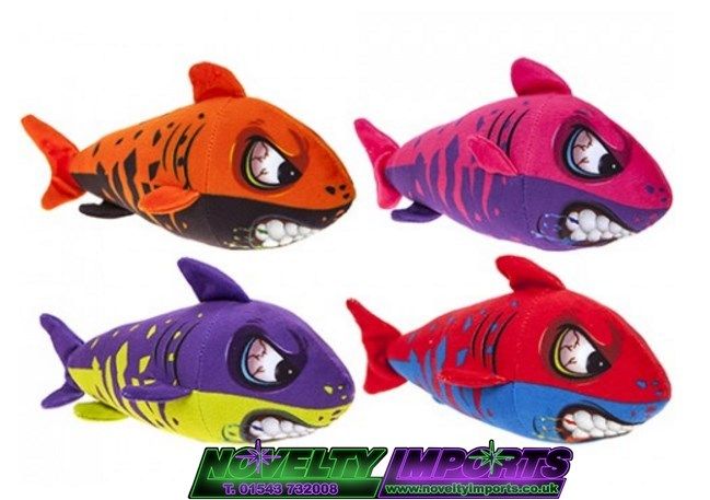 colourful teeth shark plush